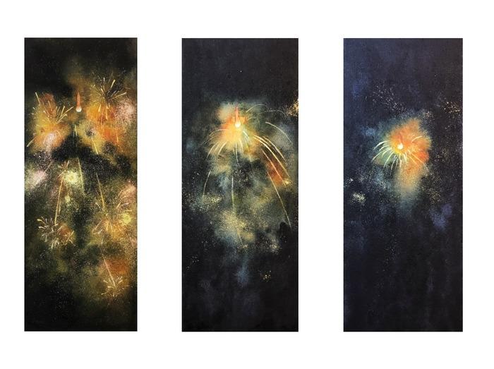 透明水彩画「線香花火」製作過程☆1/21(火)から銀座で展示します