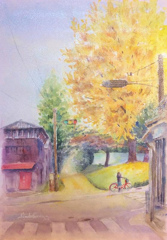 2016-1透明水彩画「帰り道 奈良北町」完成