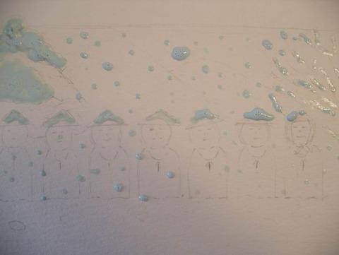 透明水彩画作品「かさこじぞう」マスキング