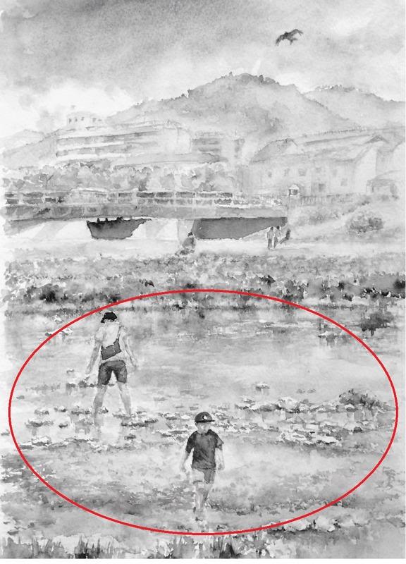 07OYさん透明水彩画「鴨川の風景 出町柳辺り(仮題)」 - コピー