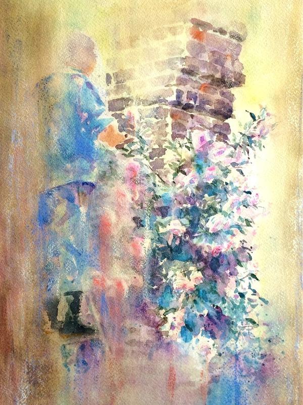 透明水彩画「大阪の風景(中之島公園 薔薇園)失敗