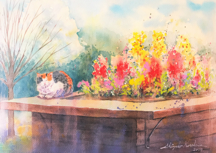 透明水彩枚方シリーズ#1「山田池公園の猫」&アートエッセイ「バルールの意味噛み合ってるわけない!」