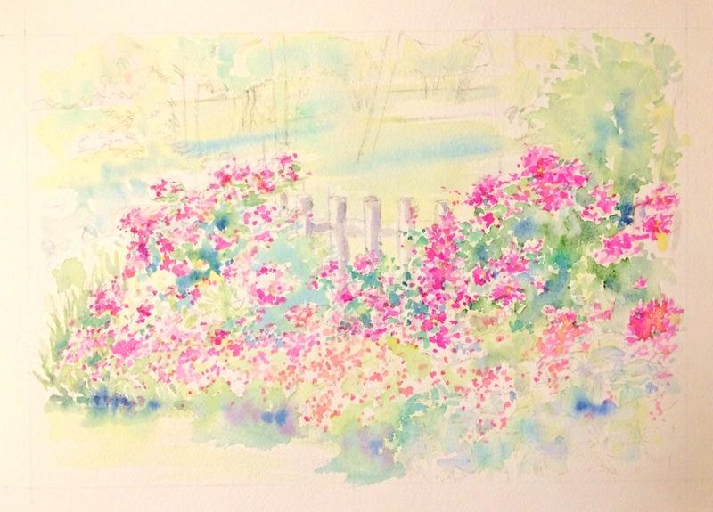 07透明水彩画「淡路島の風景(淡路島公園)」3