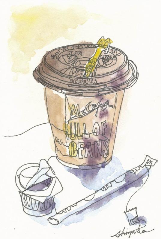 """""""マック100円コーヒー""""でもモチーフになるよ""""鼻歌一本線スケッチ☆"""""""