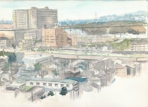 自宅から見た枚方の風景~淀川方面~着彩途中2