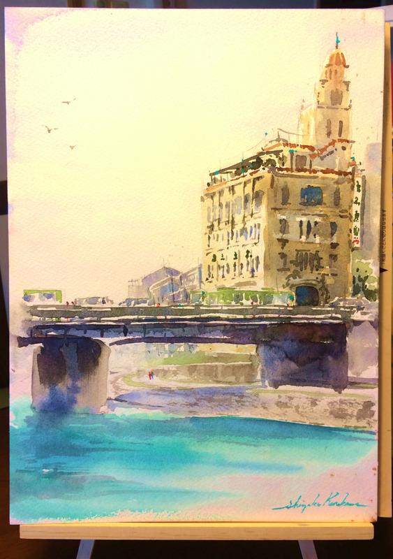 1月24日伏見教室 透明水彩画デモンストレーション「四条大橋界隈」