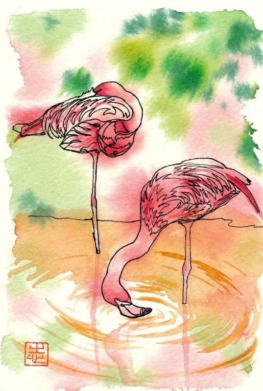 病み上がりに・・・透明水彩一本線スケッチ「フラミンゴ」