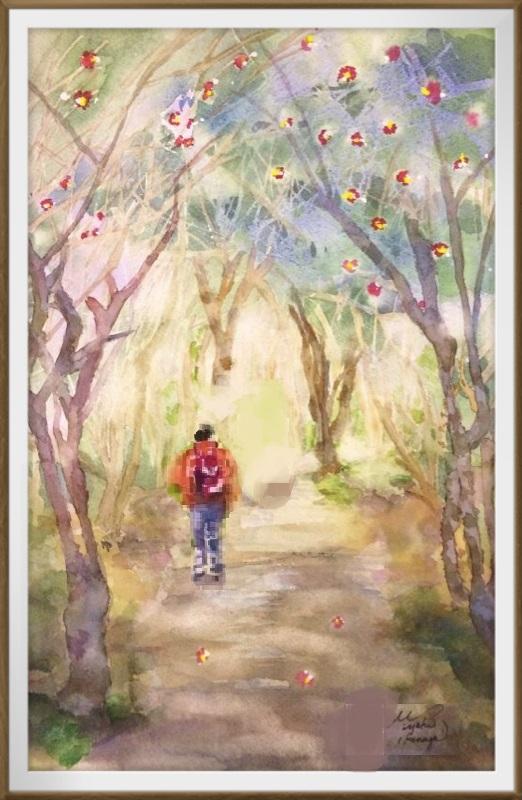 23Iさん透明水彩画「椿の森にて(高知)」仮題 位置変更