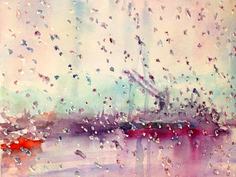 23Oさん透明水彩画「水滴遊び(仮題)」