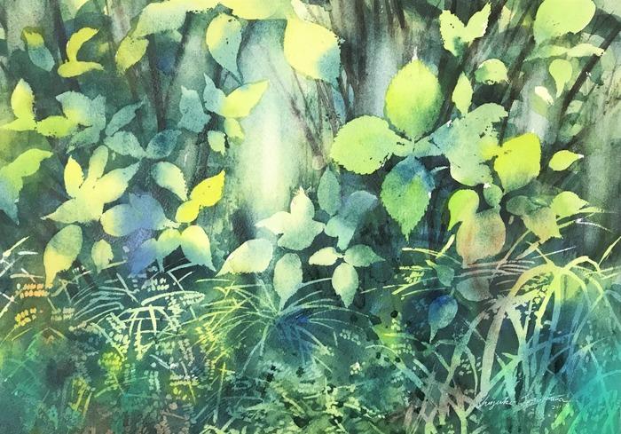 透明水彩画「sigemi」マスキングを使って草むらを描く