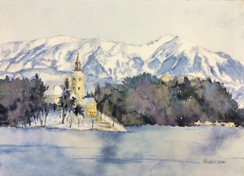 くろかわ透明水彩画教室Iさん「クロアチアの風景」&アートエッセイ「見栄えのする絵」