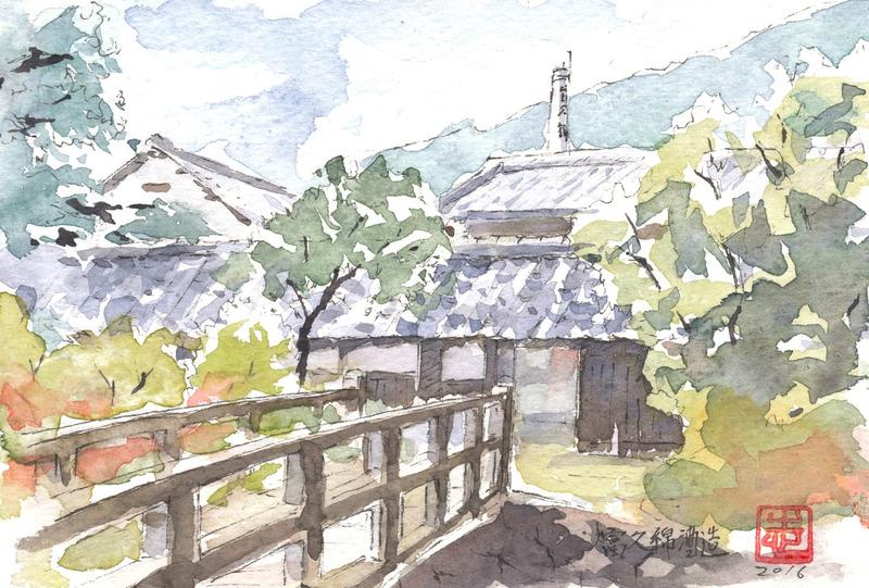 04 水彩スケッチ「富久錦酒造 門前」 完成