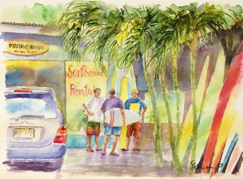 くろかわ透明水彩画教室生徒作品OYさん「ハワイの風景(仮題)」