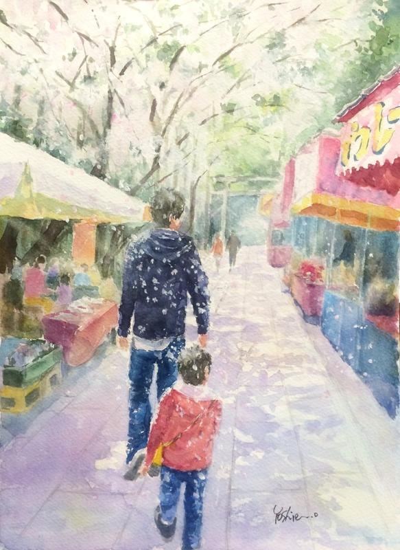 """くろかわ透明水彩画教室""""一足お先に桜の光景""""&アートエッセイ「失敗って」"""