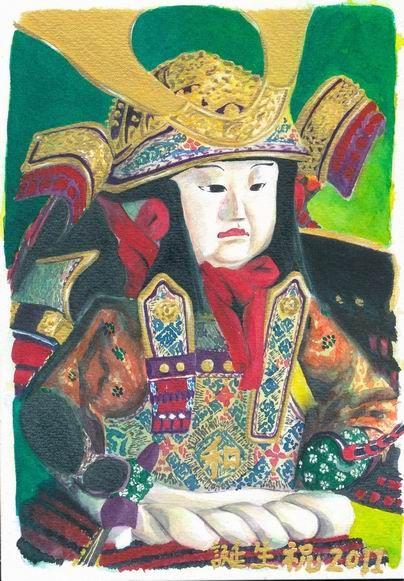 透明水彩画「五月人形」完成しました♪(長野県の『マッチ絵具』で描きました!)