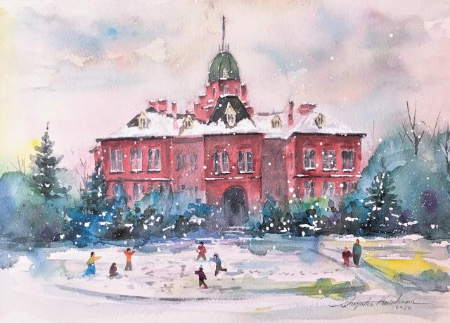 アートエッセイ「上手の壁・下手の壁」&透明水彩画「雪合戦」