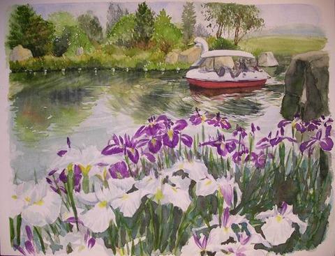 透明水彩画「国立明石海峡公園」 (5)