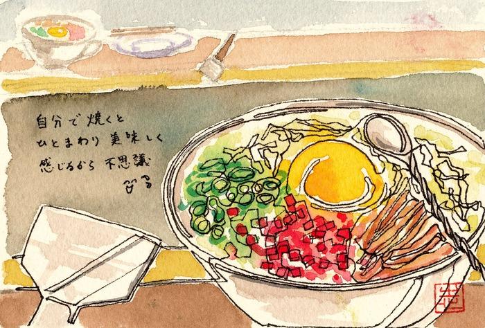 2014.12.08一本線スケッチ「自分で焼くお好み焼き」