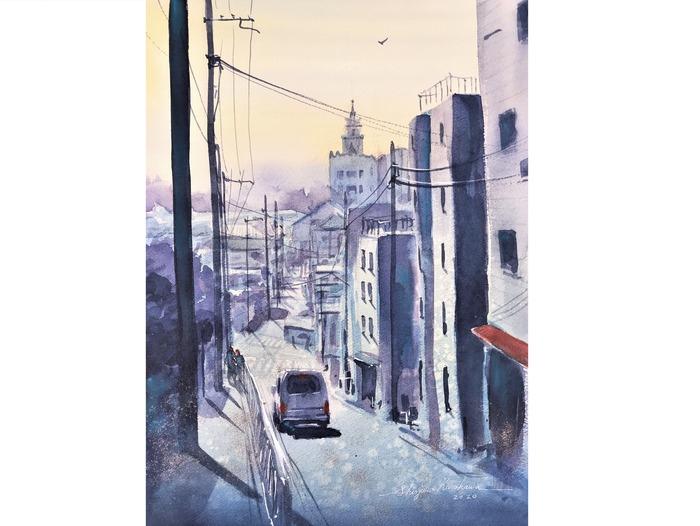 透明水彩画「初春の坂道」とアートエッセイ「絵画とかけて登山ととく。その心は?」
