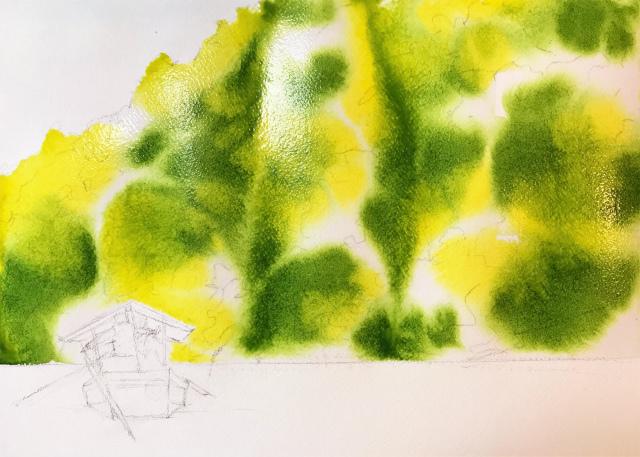 透明水彩画「保津川下り(京都嵐山)」製作途中 (0)
