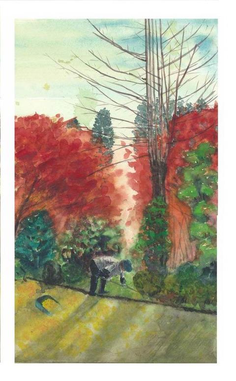 水彩画作品「三室戸寺の秋」完成しました♪