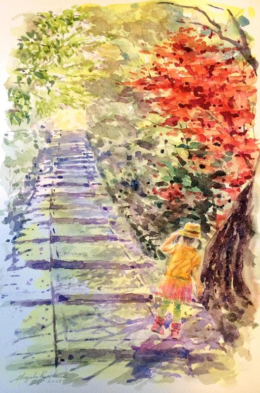 透明水彩画「京都の風景(台所坂)」描きなおす可能性大