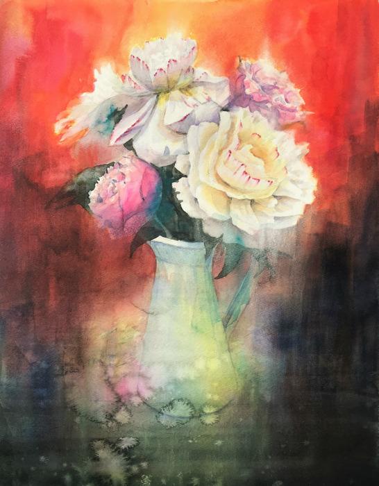 透明水彩画「赤い世界(芍薬)」絵ではポーカーフェイスできないの巻