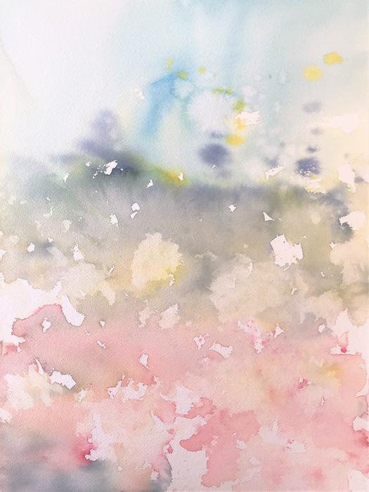 2020.01.30透明水彩画「待ちわびた季節」途中 (1)