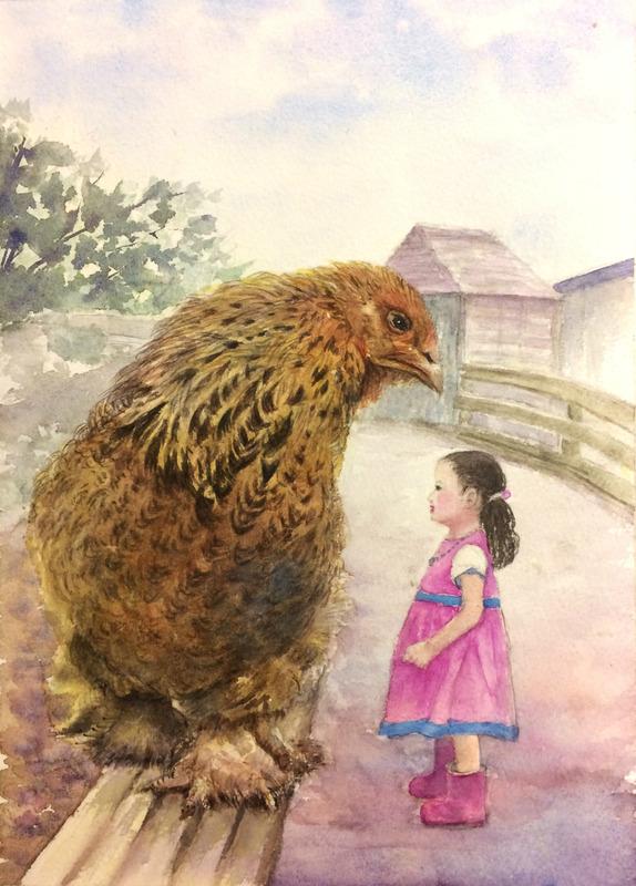 「水彩的生活」明けましておめでとうございます!(Yさん透明水彩画「大きな鶏と女の子(仮題)」)