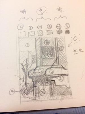06透明水彩画「午後の出張(喫茶キャンドル