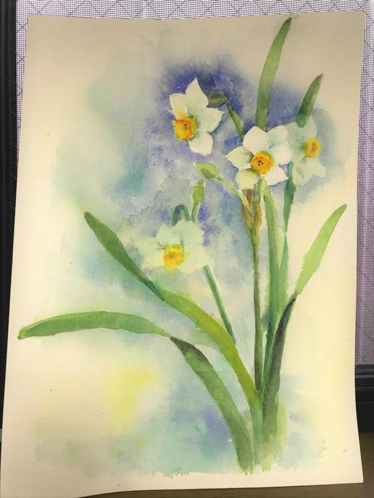滲みが美しいOさん「花」の透明水彩画