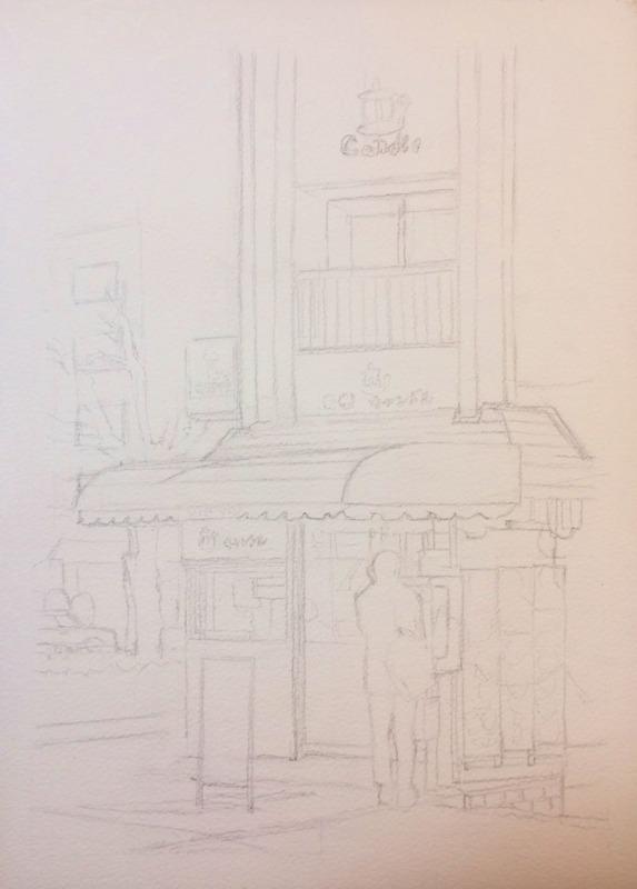透明水彩画「午後の出張(喫茶キャンドル 八幡市)」下描き&アートエッセイ「自分の絵って」