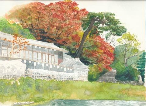 作品「嵐山の船着場界隈」の着彩を途中まで仕上げました。