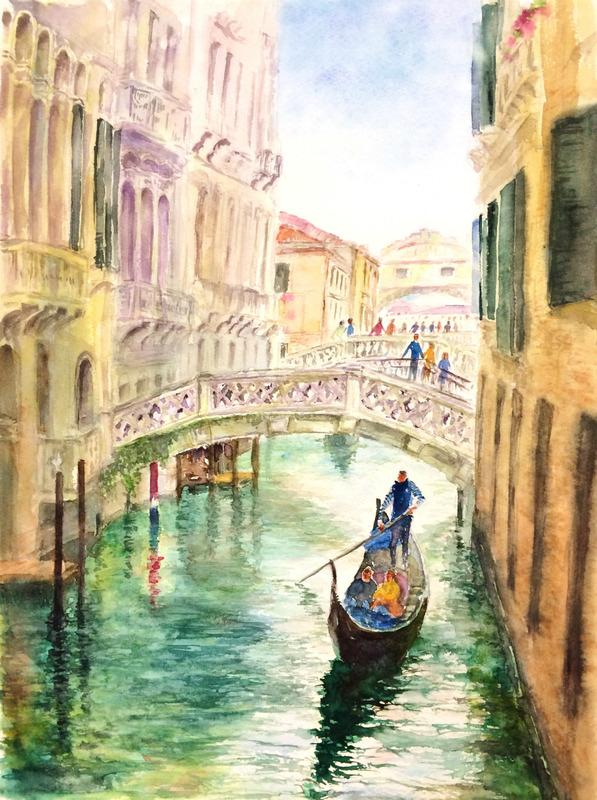 16OYさん水彩画「ベニスの風景(仮題)」