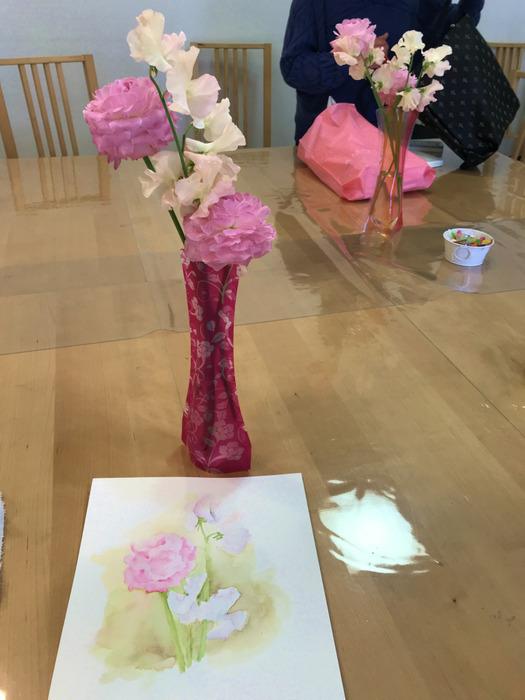 3月のカルチャーハウス香里ケ丘「花を描く水彩画」講座