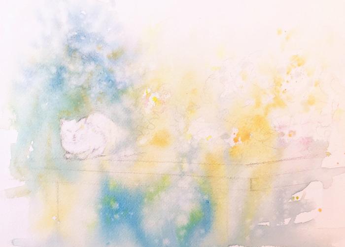 2020.02.09透明水彩画「山田池公園の猫」枚方市シリーズ#1途中