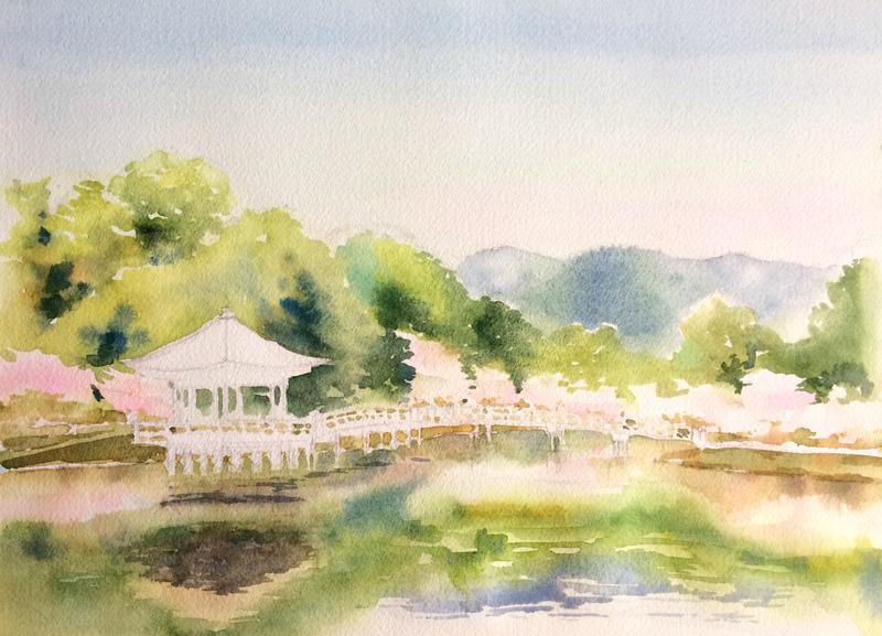 2016-3透明水彩画「春模様 奈良公園」製作途中3small