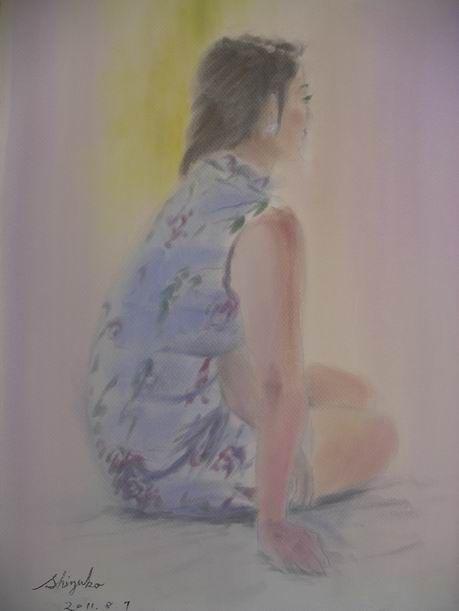 チャイナドレスの女性をパンパステルで描きました♪&9月の展覧会に向けて制作中