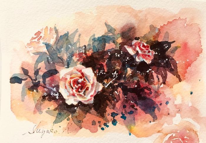 葉書de一日一枚「近沢問題」を考えながら暖色の滲みで薔薇