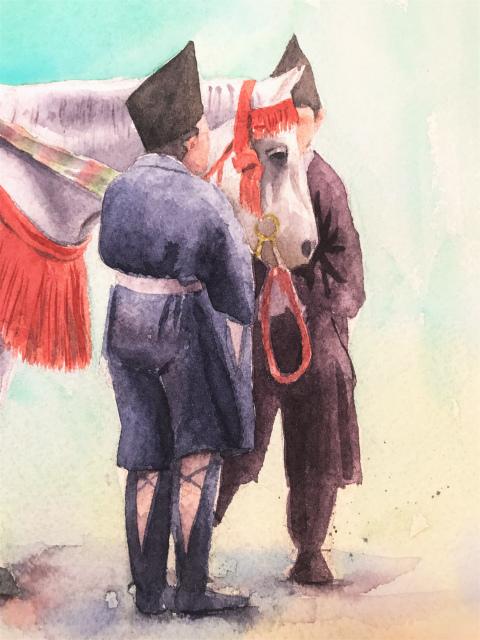 透明水彩画「峠にて(京都 時代祭り 巴御前)」arches2636途中 (2)