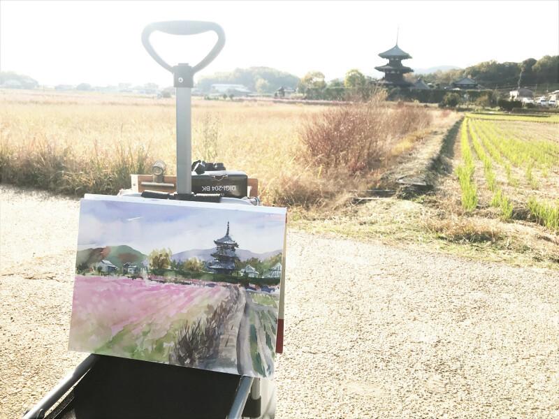 奈良:コスモスの咲く【法起寺】界隈へスケッチに行ってきました🎨
