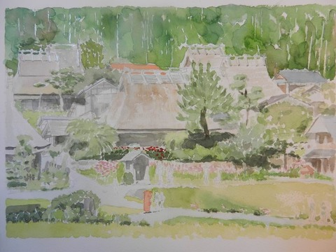 透明水彩画「美山の秋」製作途中 (2)
