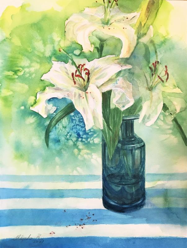 透明水彩スケッチ「初夏の百合」~花粉~