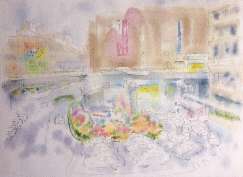2016-2透明水彩画「あの雨の日 枚方」途中small