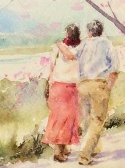 09透明水彩画「桜の頃(八幡市 背割提)一部