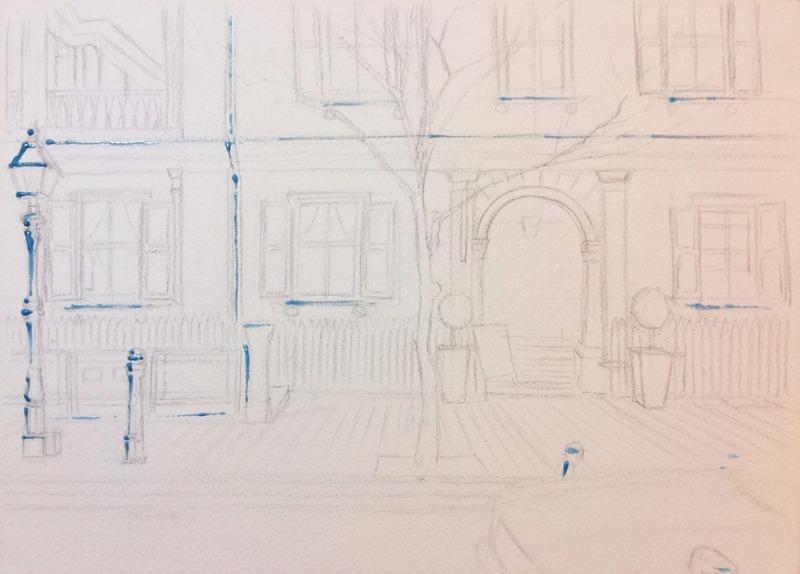 透明水彩画「朝の洋館」途中 (1)