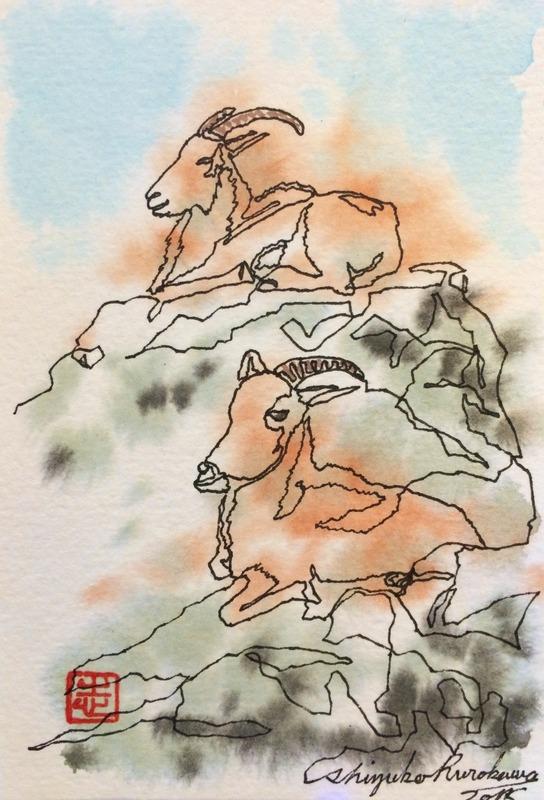 09一本線スケッチ「山羊」
