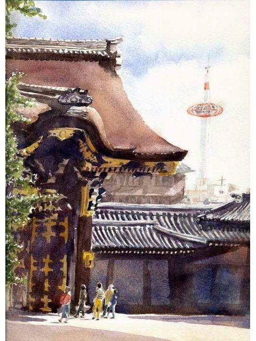透明水彩画『京都 西本願寺』メイキング動画制作