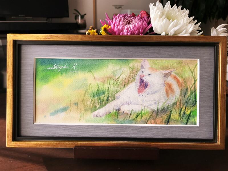 透明水彩画「The Yawning Cat」&アートエッセイ「味と天然」