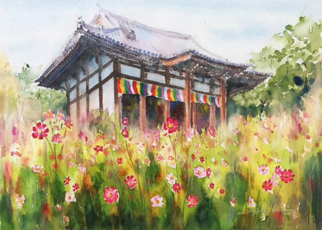 透明水彩でコスモス寺(奈良きたまちエリア 般若寺)を描く